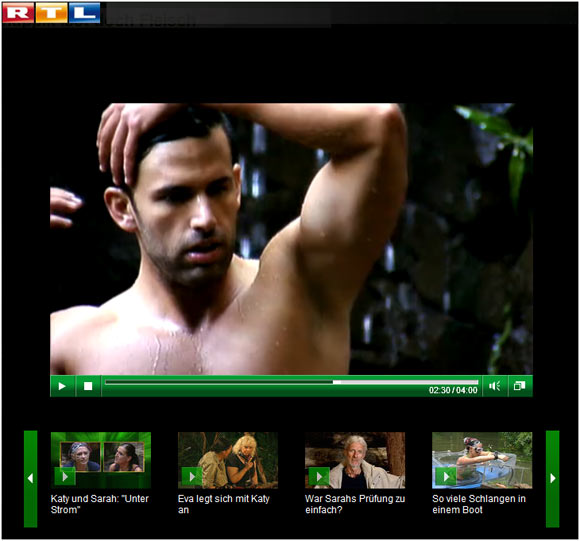 Screenshot: Jay Clooney im Video auf der RTL-Homepage