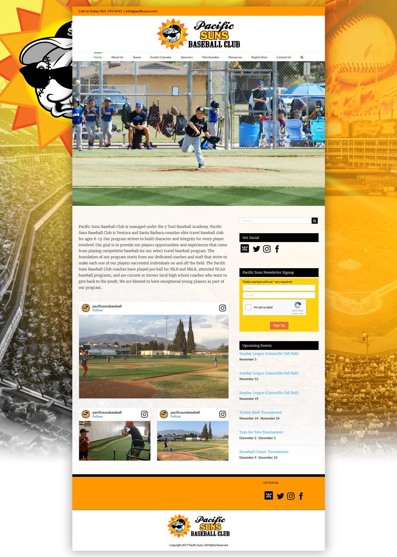 PacificSuns.com Baseball website homepage