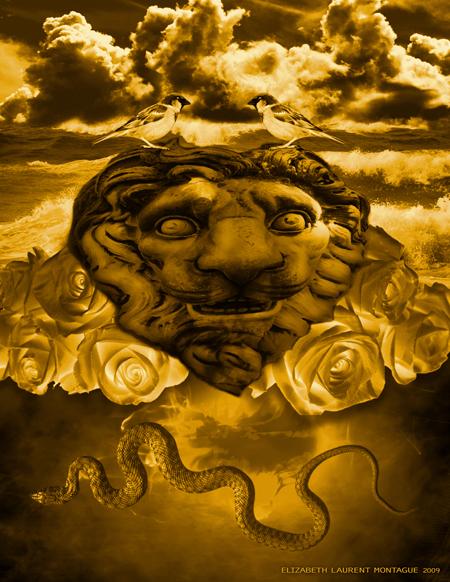 Lion Heart -Collage Art