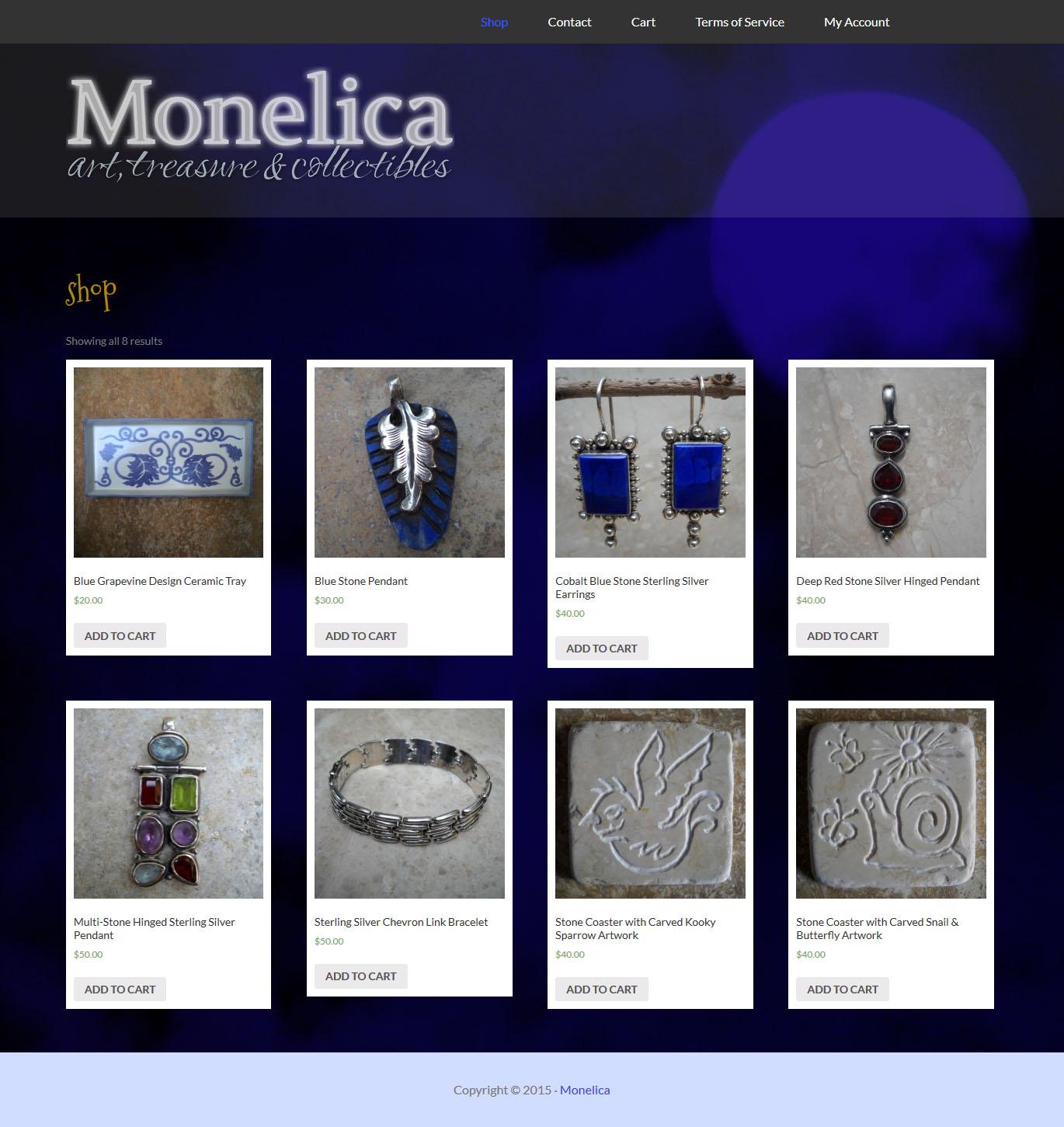 monelica.com WordPress eCommerce website design