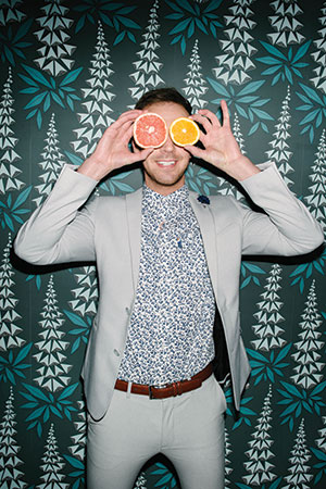 Le Shark button-up shirt (Dornink). ASOS gray slim suit and belt are model's own.