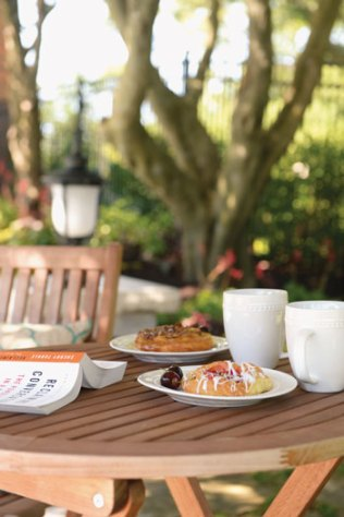 Pastries in the shade of Japanese maples.