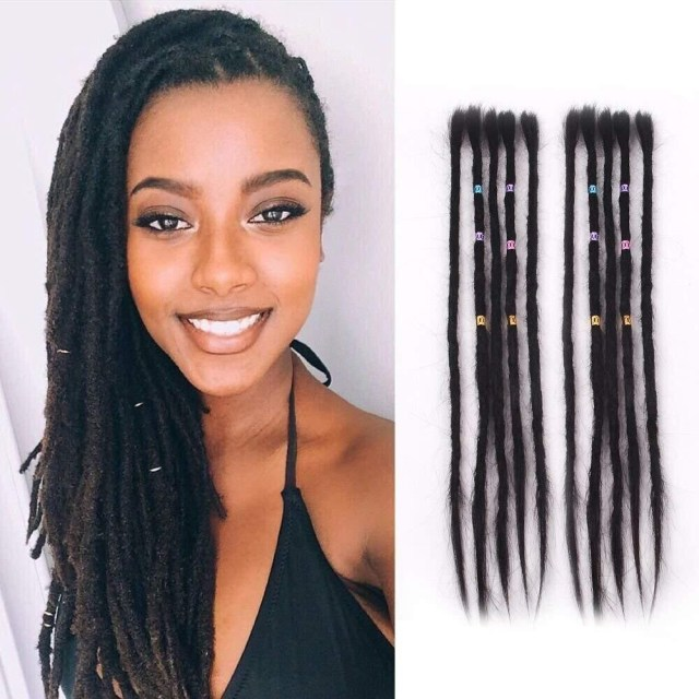dsoar hair dreadlock extensions human hair 20 pcs 1# hair color hairstyles 20 inch