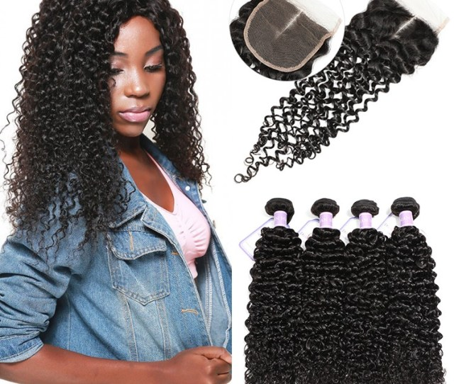 Dsoar Hair Pcs Malaysian Jerry Curly Hair Weft With Closure