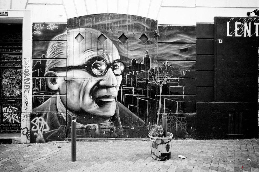 Graffiti en noir et blanc