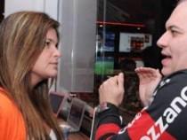 Cristiana Oliveira e Sandro Rocha curtem jogo do Flamengo no Camarote da Brahma