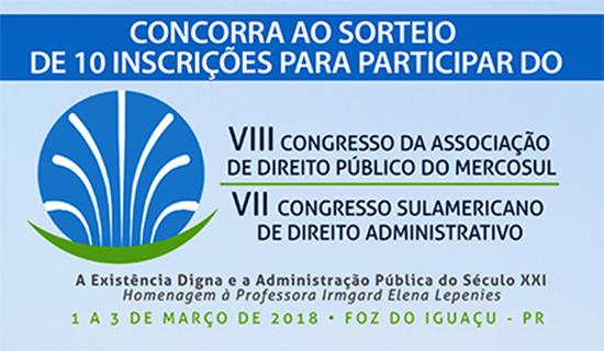 Aberto cadastro para sorteio de dez inscrições a congressos de Direito Administrativo
