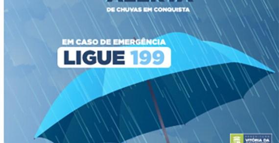 Defesa Civil divulga acumulado de chuvas em Vitória da Conquista