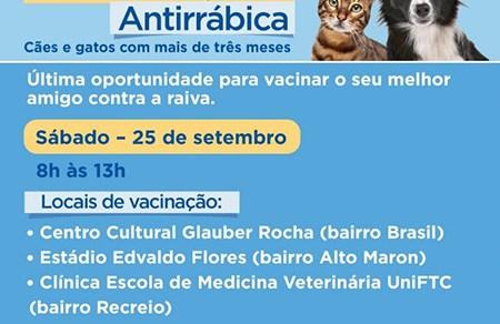 Campanha de Vacinação Antirrábica será encerrada neste sábado, 25 de setembro
