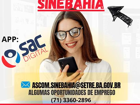 SINE Bahia anuncia as vagas de emprego disponíveis para esta terça-feira, 19
