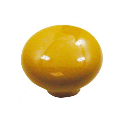1 bouton de meuble ovalie vintage porcelaine jaune d or