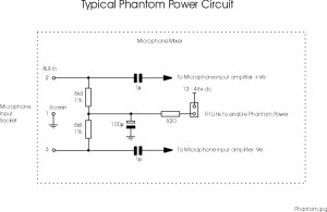 Phantom Power Microphone wiring and circuit diagram