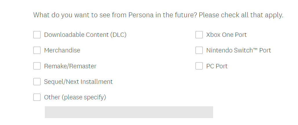Persona 5 6 Atlus Port PC Nintendo Switch Xbox One Survey