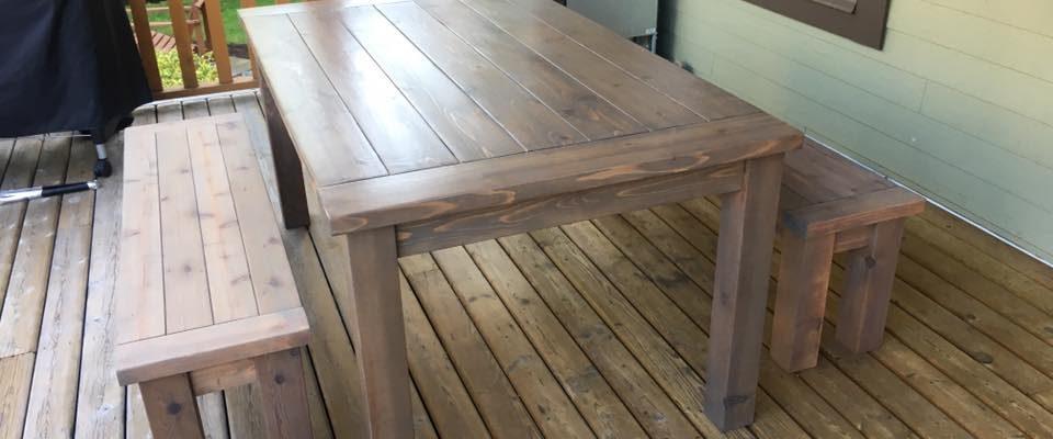 an outdoor farmhouse patio table