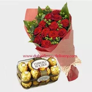 Red roses bouquet with chocolates for delivery