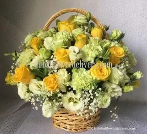 yellow flower basket free shipment