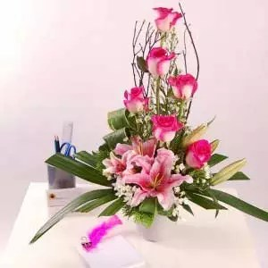 Pink Lilies Roses
