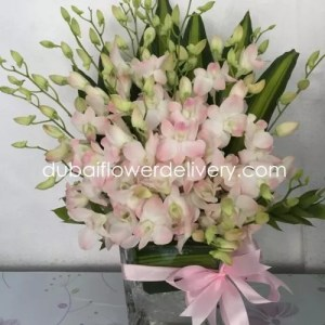 20 Pink Orchids Glass Vase
