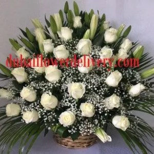white lilies roses basket