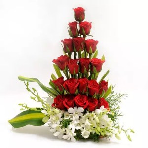 red roses orchid basket