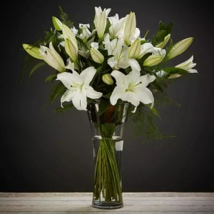 respectful congratulation of white lilies vase