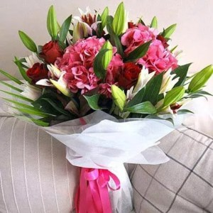 Hand on Heart Bouquet of Flowers