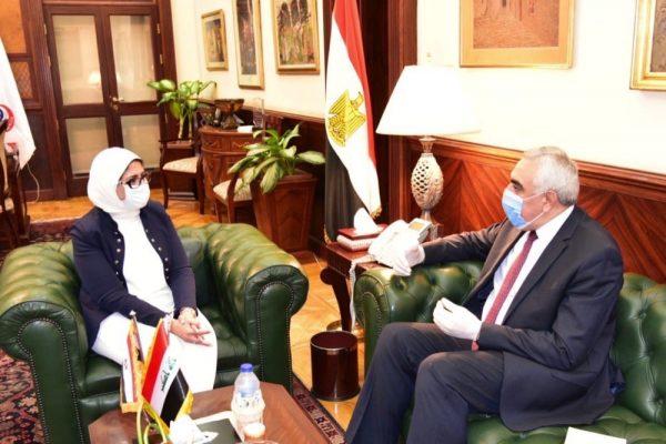 وزيرة الصحة تستقبل السفير العراقي لمناقشة تقديم سبل الدعم الصحي وإدارة أزمة فيروس كورونا بدولة العراق