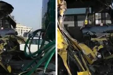 School bus crash Dubai Our Own English High School Al Warqa'a Business Bay 16 Injured