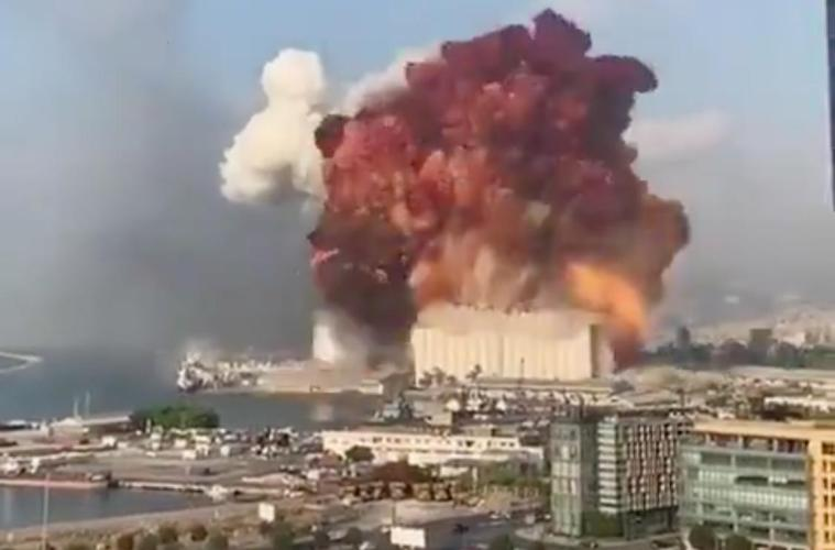 Two huge explosions rock downtown Beirut