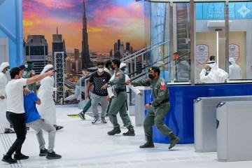Sheikh Hamdan looks on as Dubai Police practise Dubai Metro hostage situation