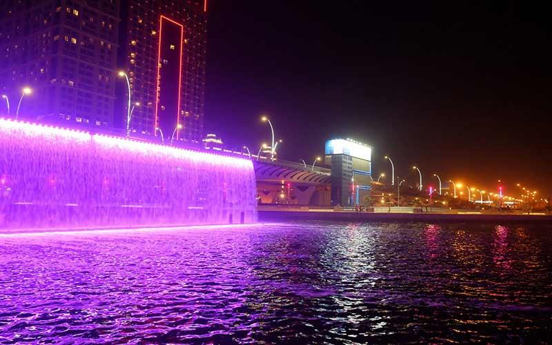 Dubai Canal Waterfall Image Dubai Water Canal