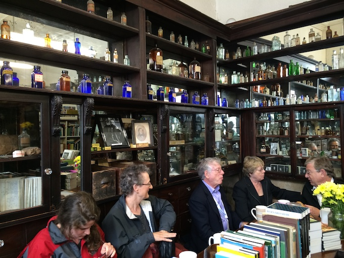 A reading taking place at Sweny's Pharmacy in Dublin