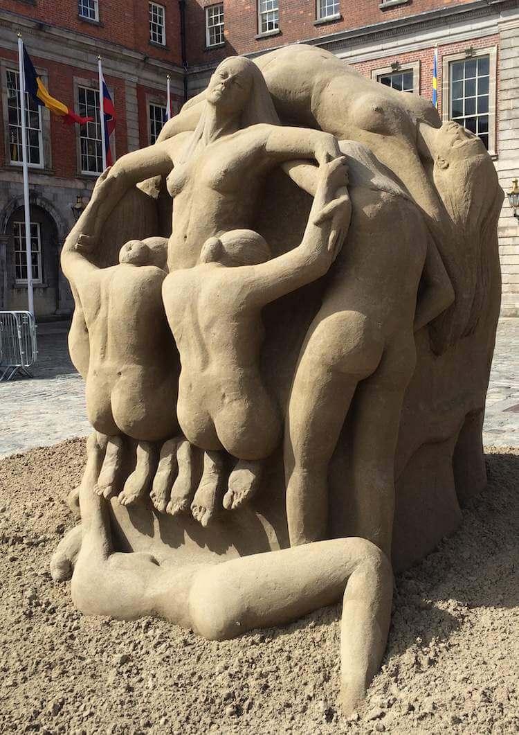 intricate sand sculpture dublin castle 2015