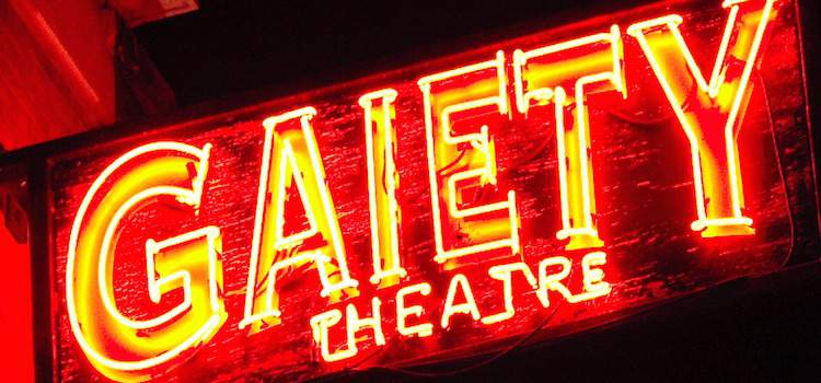 The Gaiety Theatre in Dublin neon signage