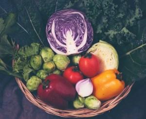 Harvested vegetables in a wicker basket