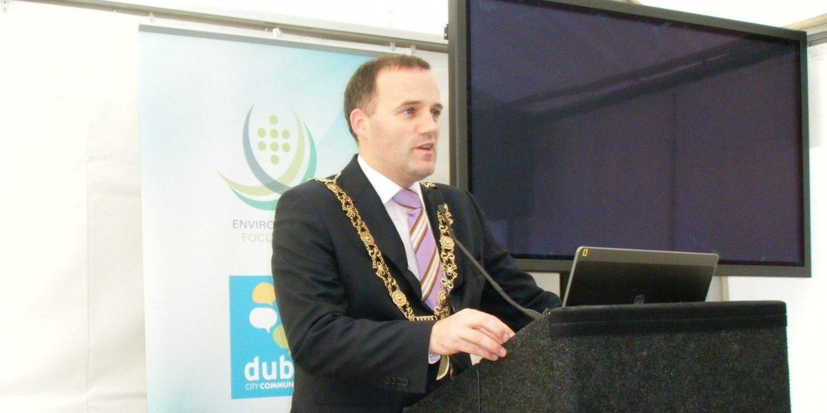 Dublin City Lord Mayor Naoise Ó Muirí speaks at the first Dublin Harvest Festival.