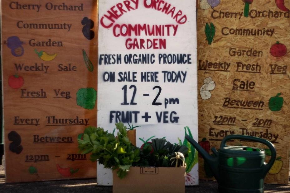 Cherry Orchard Community Garden market sign