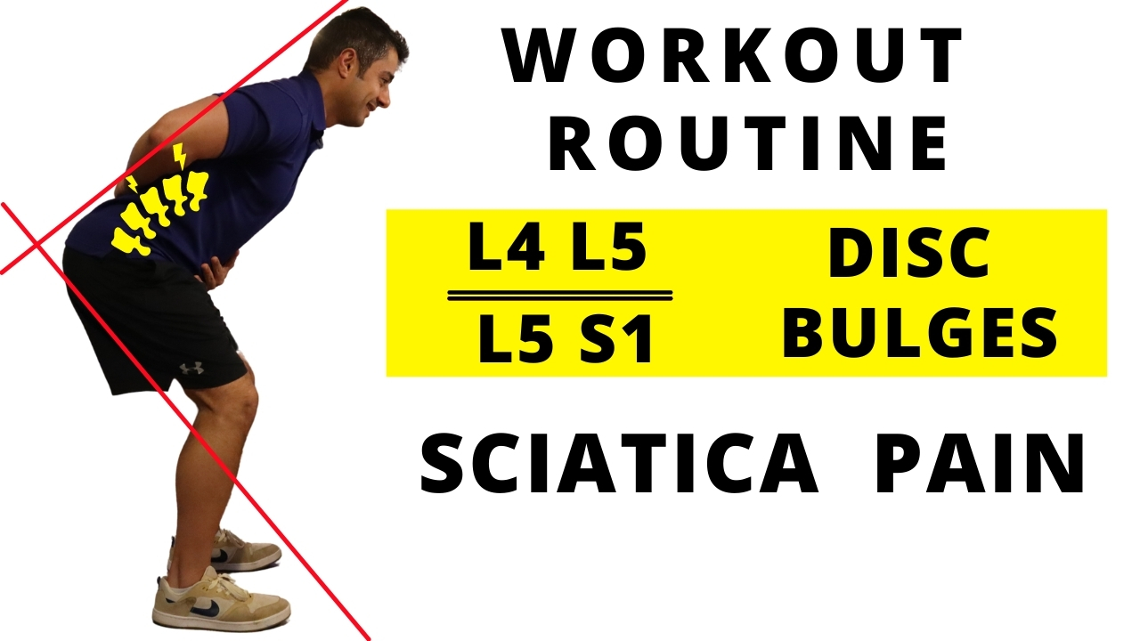 Workout routine for L4 L5 / L5 S1 Disc bulges and Sciatica Pain (Beginner)