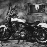 Harley Davidson, 2013, tužka na papíře, 30x42 cm, soukromá sbírka