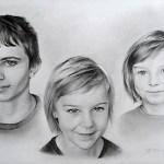 Trojportrét, 2016, kresba tužkou a tuší na papíře, cca 30,0×45,0 cm, soukromá sbírka