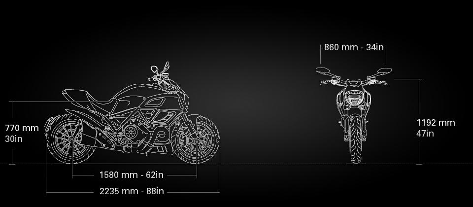 Ducati Diavel tehnične specifikacije dimenzije
