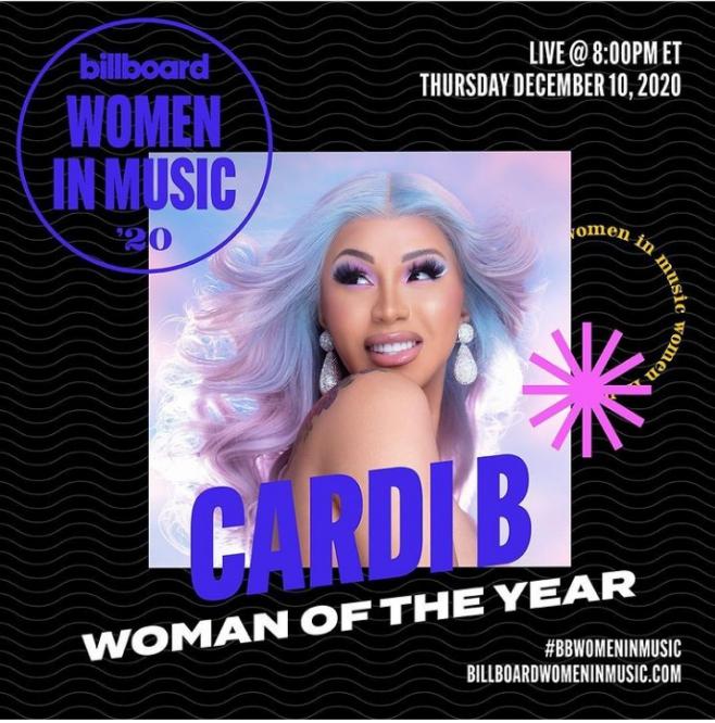 Cardi B Billboard's 2020 Women of the year In Music