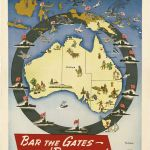 """A map of Australia depicting encirclement by Japanese planes and ships. Reads """"Ringed with Menace!"""""""