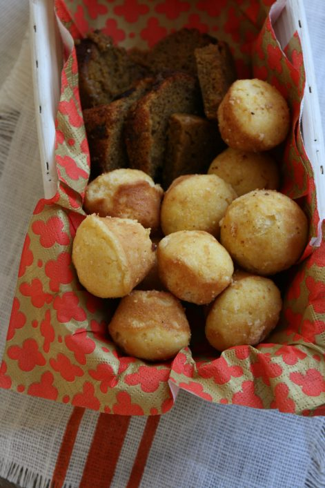 Serve a mix of breads and muffins.