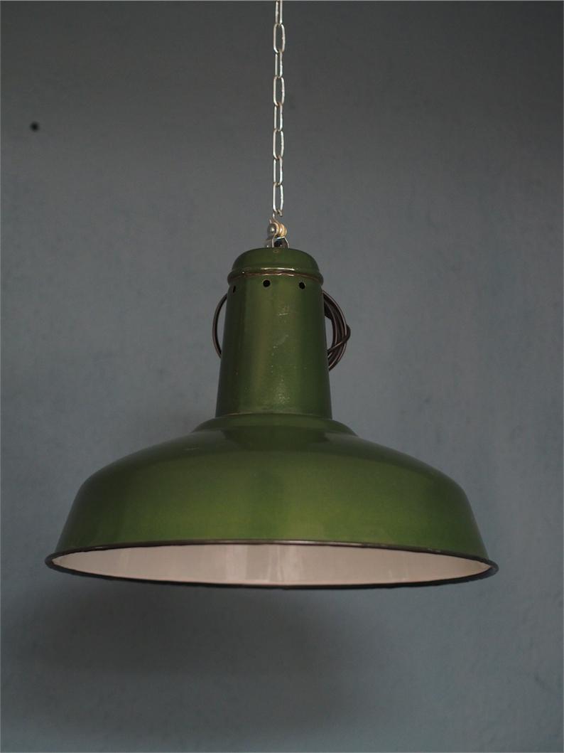 Suspension Gamelle Abat Jour Emaillee Vert Lampe Industrielle