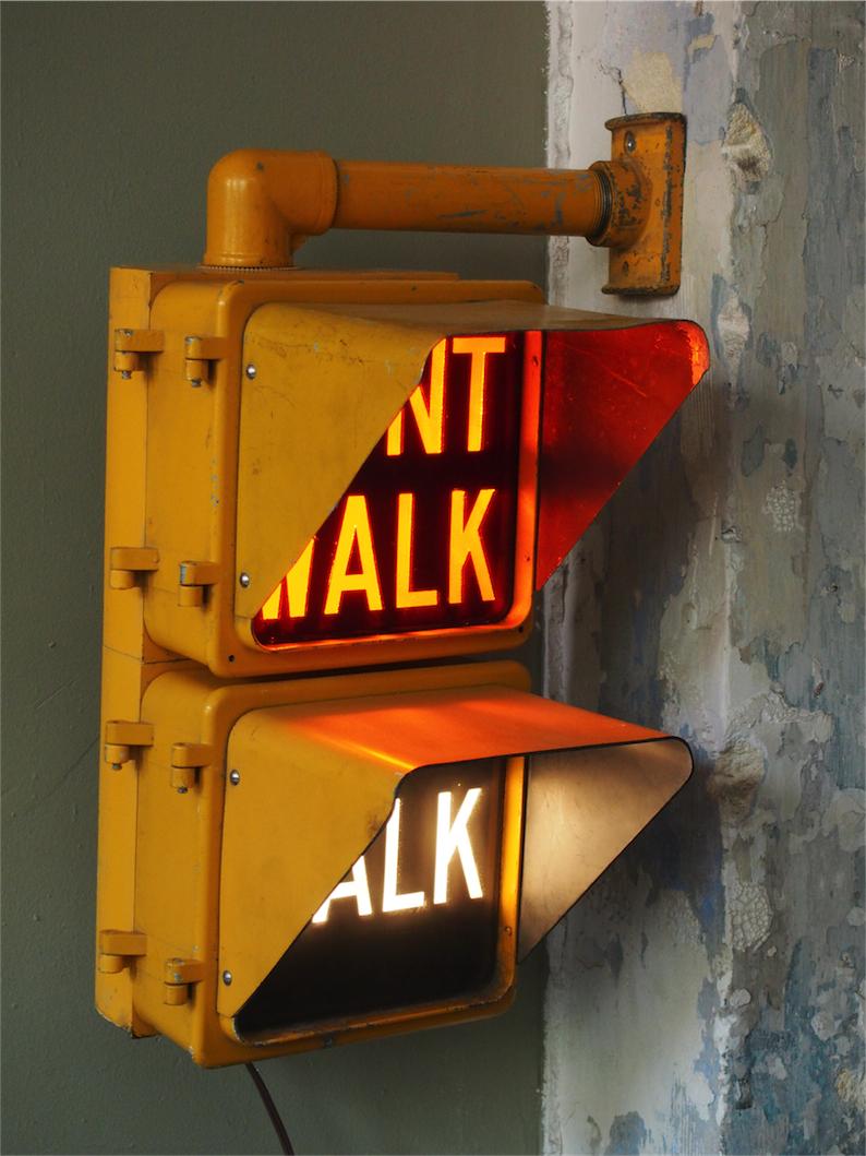 New York Feu Dont Walk Americain Vintage USA Jaune D