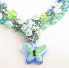 blue butterfly necklace detail