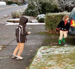 A pathetic snowball fight but they did their best.