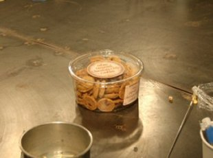 Our snack... the cookies were kept toasty warm by all the glasswork going on.