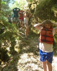 Arms up... poison oak was everywhere.. although no one got any... yeah!